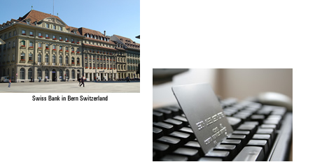Swiss Bank in Bern Switzerland and A Credit Card on a Keyboard